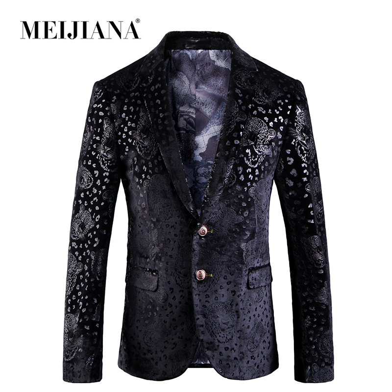 Erkek Kıyafeti'ten Blazerler'de MEIJIANA 2019 Rahat Slim Fit Erkek Takım Elbise Ceket Moda D Düğmesi Erkek Blazer Sonbahar Bahar Çiçek Baskı Palto Erkekler'da  Grup 1