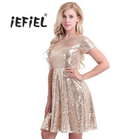 iEFiEL Women Ladies O Neck Short Sleeve Shiny Sequins Office Club Cocktail Party Dresses Formal Costume Summer Fashion Dress