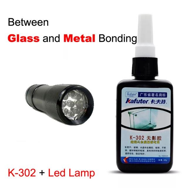 free shipping50ml Kafuter UV Glue UV Curing Adhesive K-302+9LED UV Flashlight UV Curing Adhesive Crystal Glass and Metal Bonding