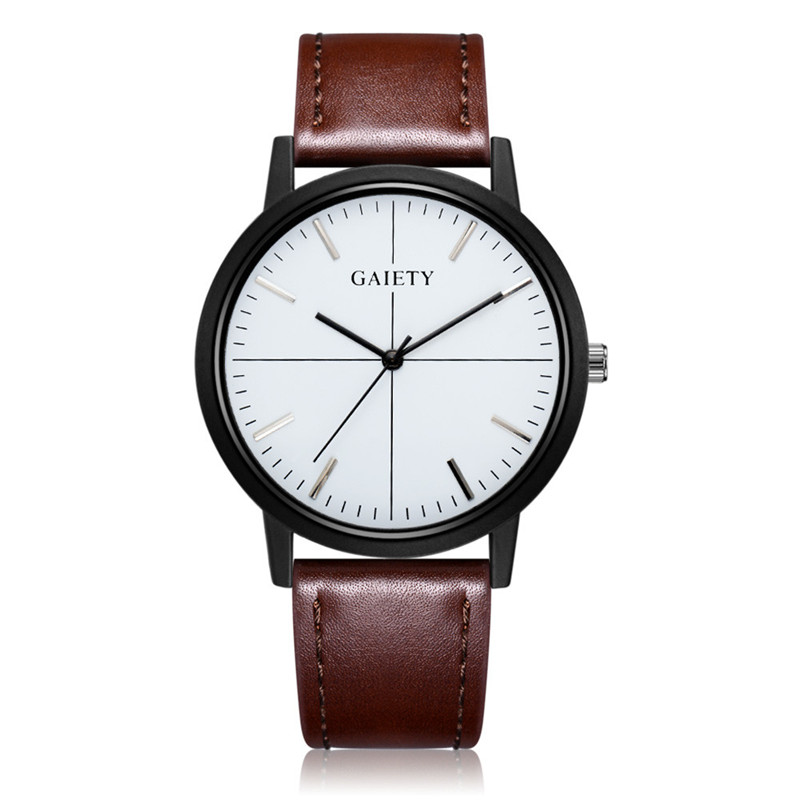 2017 Luxury Fashion Men Business Fashion Leather Band Analog Quartz Round Wrist Watch shope 30%