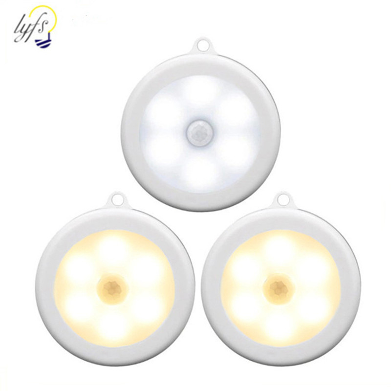 6 LED Wireless PIR Infrared Human Motion Sensor Night Light Sensing Lights Wall Lamp Closet Cabinet Stairs Automatic Lamps