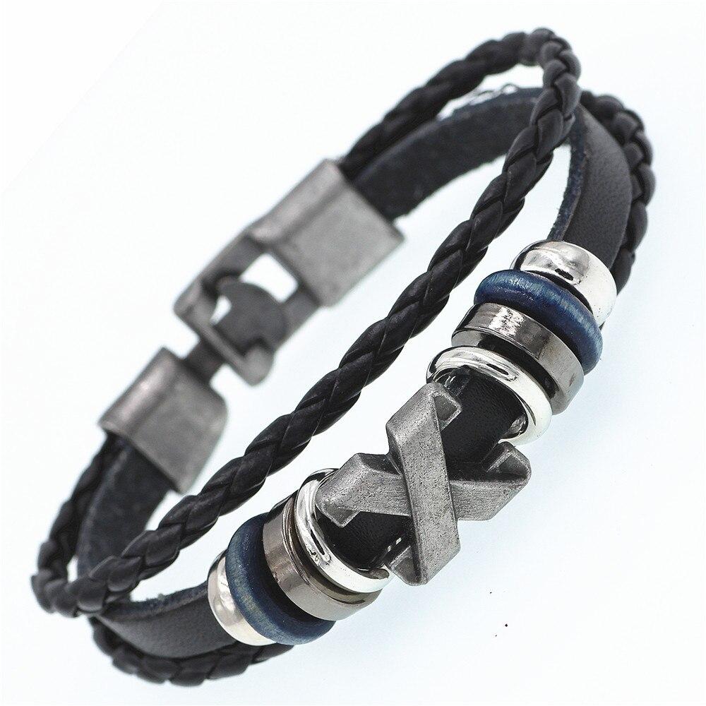 DGW Multilayer X Bracelet Men Casual Fashion Braided Leather Bracelets For Women Wood Bead Bracelet Punk Rock Men Jewelry