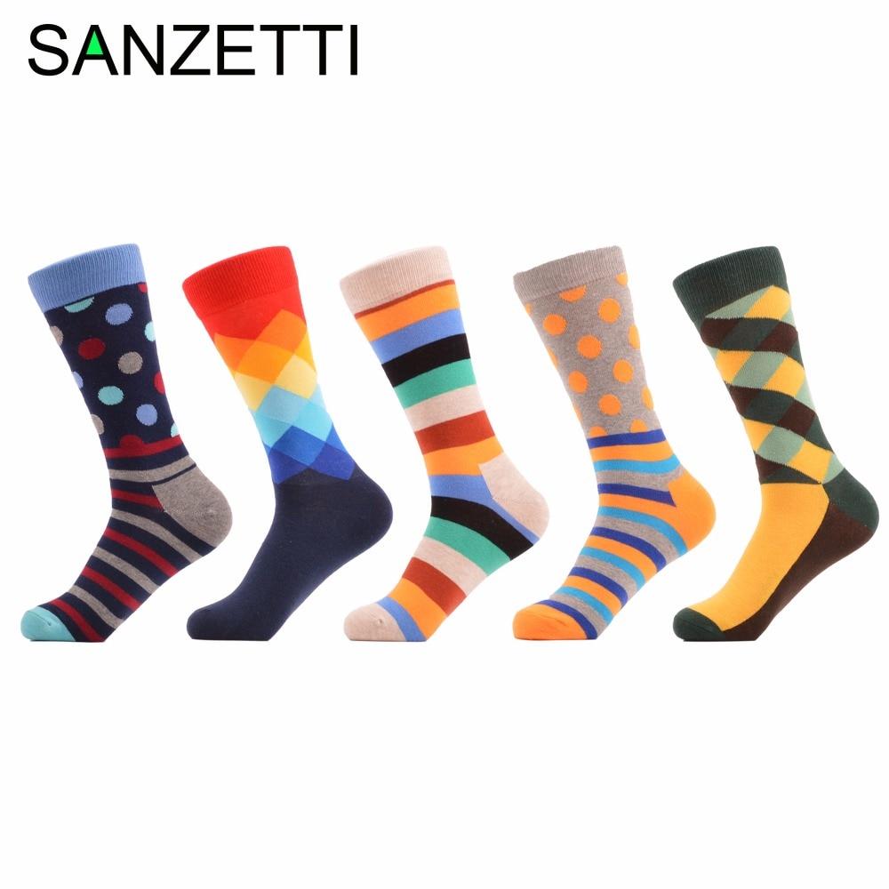 SANZETTI 5 pair/lot Mens colorful mens socks striped brand Cotton winter socks chaussette homme calcetines hombre socks men