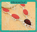 Graceful 25 Silver Real Red Coral Women Charming Garnet Jewerly Necklace GM1535,20""
