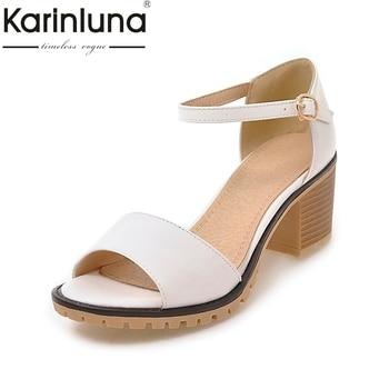 40de5d4c KarinLuna/2018 г. оптовая продажа, большие размеры 34-43, летние туфли на  квадратном каблуке женские сандалии для отдыха на платформе женская обувь