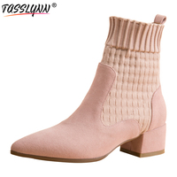 TASSLYNN 2019 Ankle Boots Winter Cow Suede Pointed Toe Luxury Shoes Women Autumn Fashion Square Heel Women Boots Size 34 39