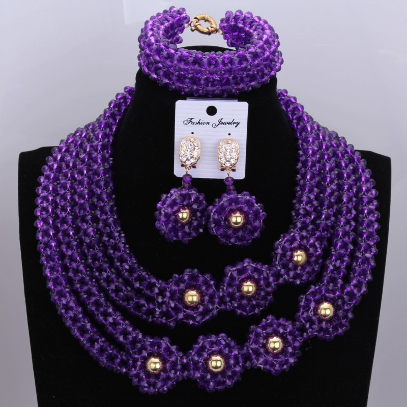все цены на Romantic Purple layered necklace jewelry set Nigeria necklace set gift Christmas decoration jewelry set Free Shipping