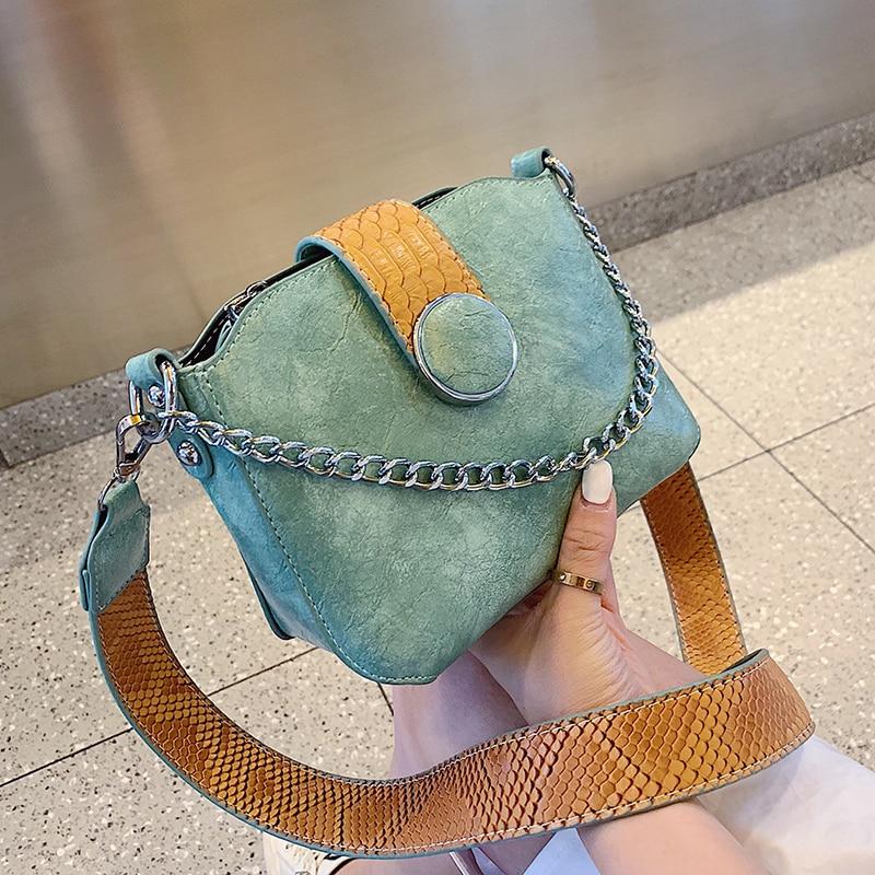 Serpentine Leather Crossbody Bucket Bags For Women 2019 Summer Chain Handbags Lady Shoulder Messenger Bag Female Travel Handbag