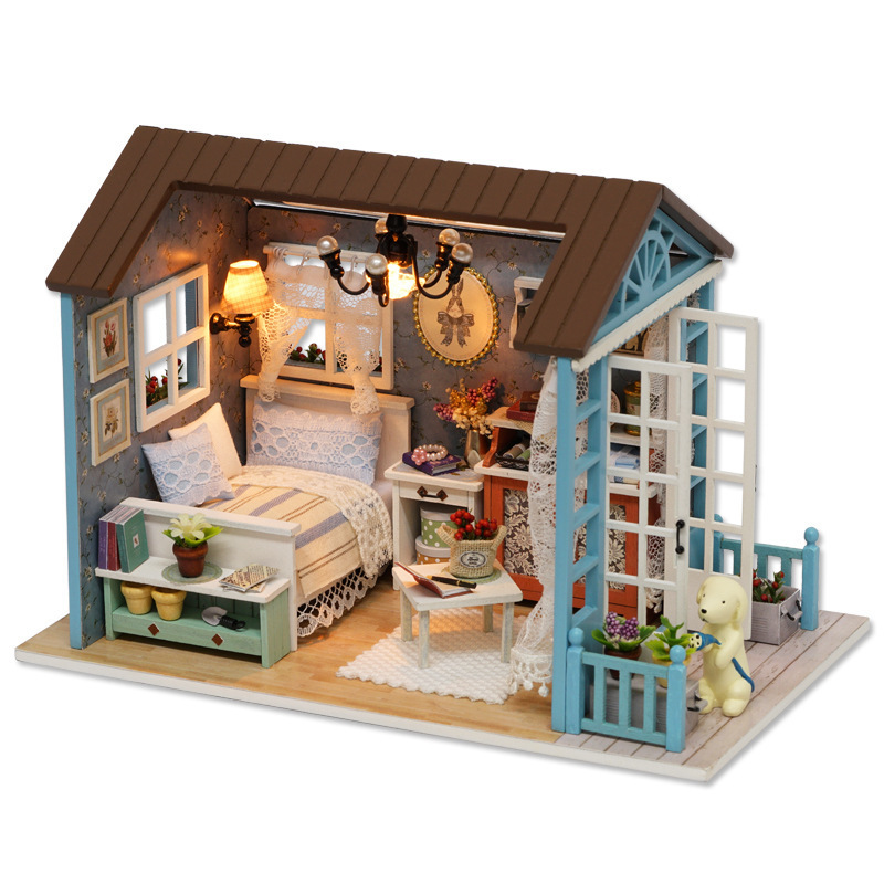 Retro DIY Dollhouse Wooden Miniature House Creative DIY Assemble Furniture Doll Houses With LED Lights Handmade Christmas Gift