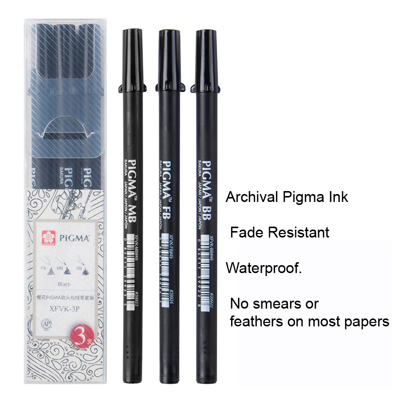 Medium and Bold Sakura Pigma Professional Set Fine 3-PC Black Set