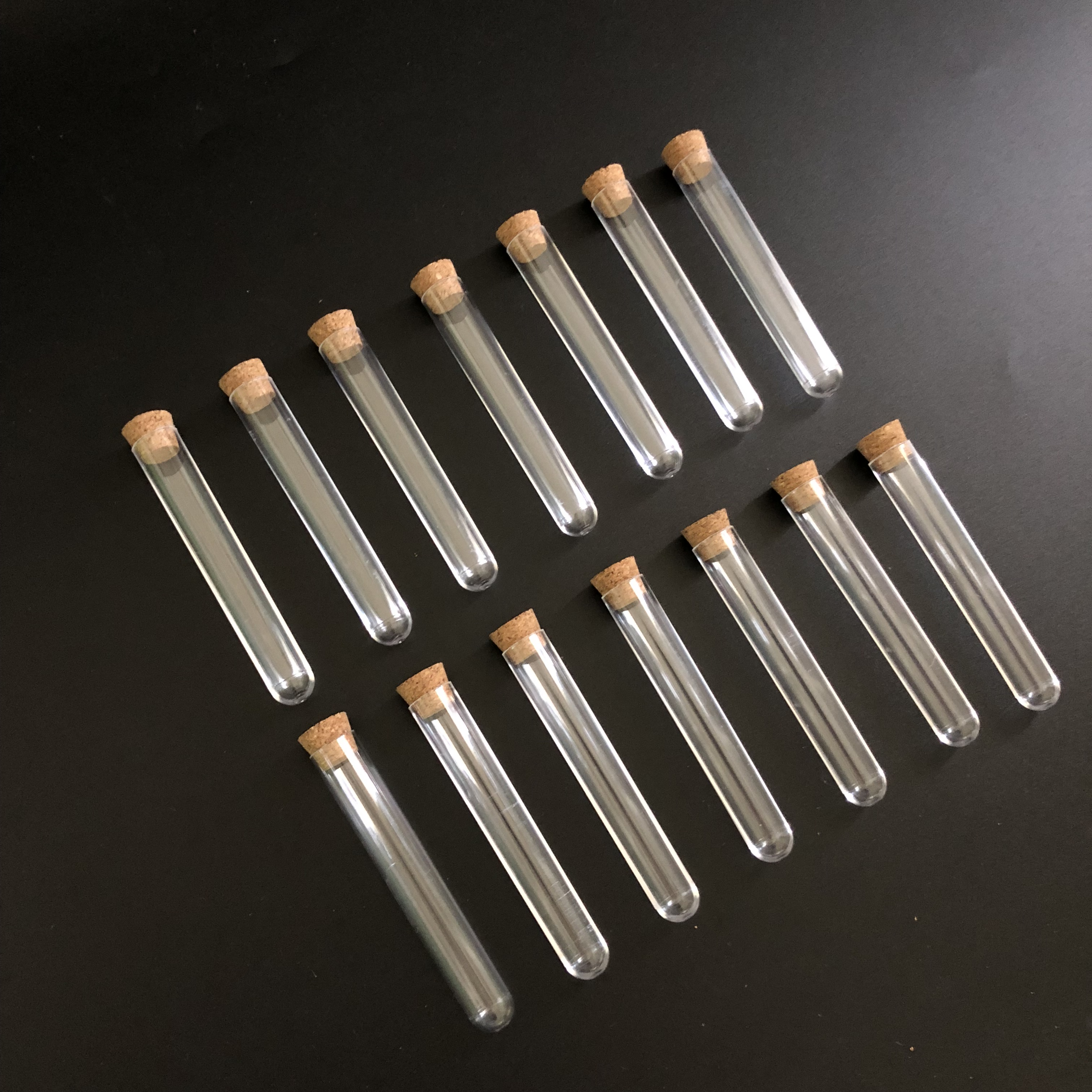 (100pieces/pack) 12*75mm Laboratory Plastic Test Tube With Cork Wood cap Lab Experiment Favor Gift Refillable Bottle
