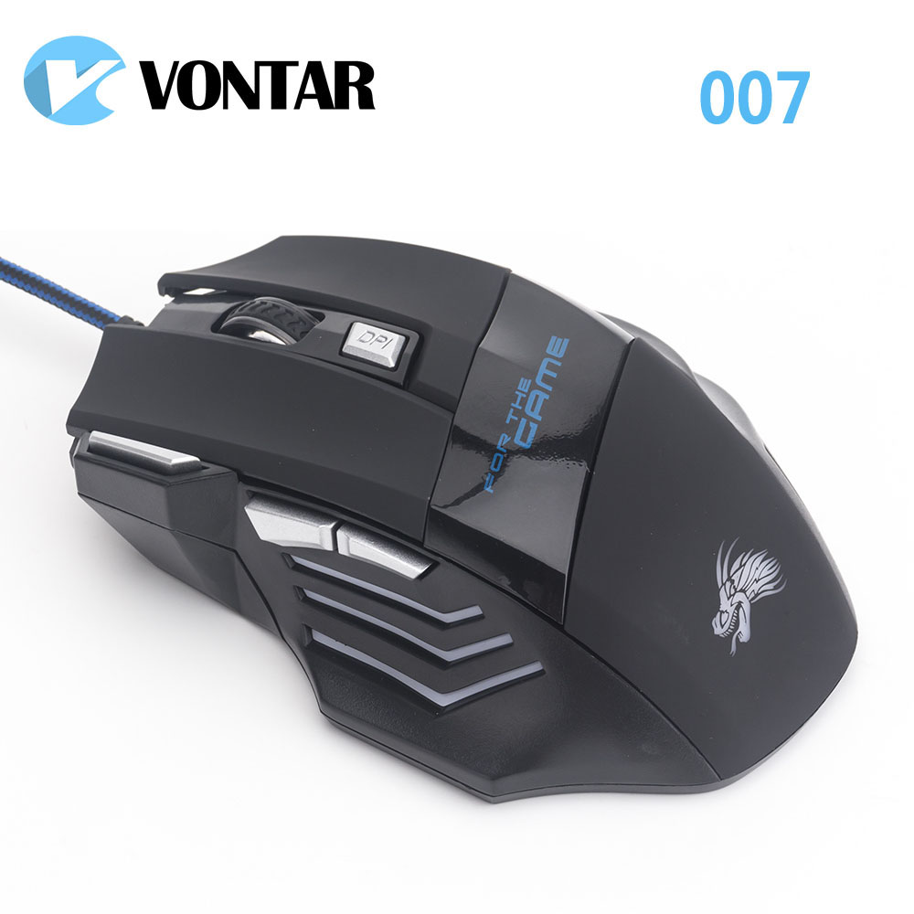Professionale VONTAR 5500 DPI Gaming Mouse 7 Pulsanti LED Optical USB Wired Mouse per Pro Gamer Computer meglio di X7 mouse