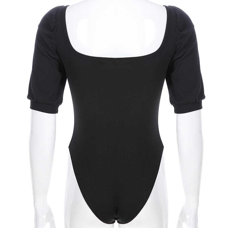 Weekeep женский черный квадратный воротник с коротким рукавом боди Летний высокий уличный комбинезон боди для женщин