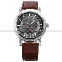 Brand New Black Silver Dial Automatic Waterproof Skeleton Analog Brown Leather Casual Dress Wrist Men's Mechanical Watch/ PMW044