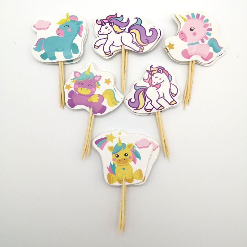 24pc/lot Happy Birthday Party Little Unicorn Baby Decorate Cake Toppers With Sticks Baby Shower Girls Kids Favors Cupcake Topper