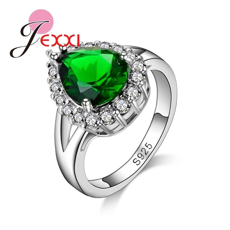 d995cc39760 Jemmin Accessoires Elegante Vrouwen Groene Kristal Ringen 925 Sterling  Zilver Vrouwelijke Dames Water Drop Shape Crystal Ring Sieraden