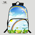 FEIHENG Brand 2016 Popular Polyester 16 Inch Printing Rainbow Landscape Children School Bags Kids Baby Schoolbag Backpack Women