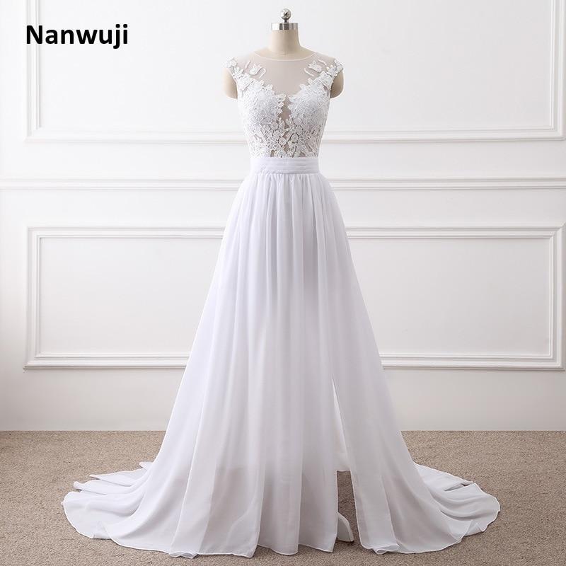Beach Wedding Dresses 2018 A Line Side Slit Elegant Lace