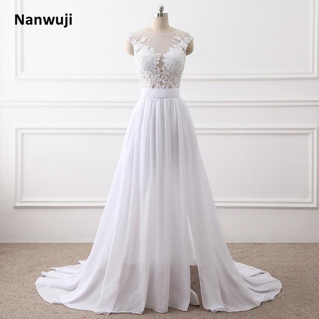 96142f5c67f Beach Wedding Dresses 2018 A-Line Side Slit Elegant Lace Appliques Chiffon  Plus Size Wedding Bridal Gowns Dress Vestido De Noiva