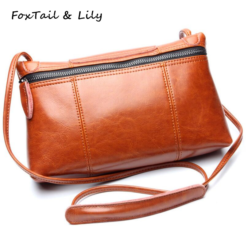 FoxTail & Lily Genuine Leather Ladies Crossbody Bag Wax Cowhide Luxury Designer Handbags Small Women Shoulder Messenger Bags feral cat women small shell bag pvc zipper single shoulder bag luxury quality ladies hand bags girls designer crossbody bag tas