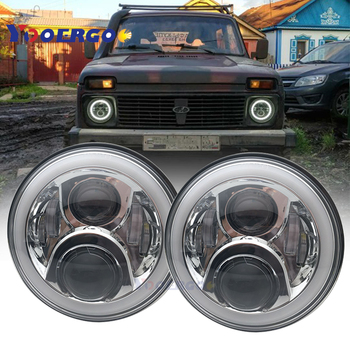 2xFor Lada Car Light 7 Inch H4 LED Headlights with DRL Halo Front headlight Niva for Jeep 4x4 suzuki samurai amber turn signal