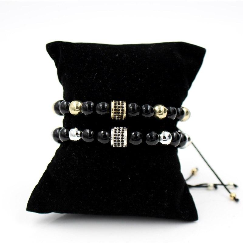 25a3606a9a5d Lo nuevo negro trenzado cuerda Cord Thread pulsera CZ tubo armadura del  encanto negro Onyx piedra pulsera de cuentas para las mujeres hombres  regalos en ...