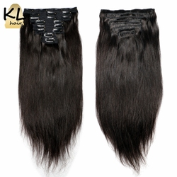 Silk Straight Clip In Human Hair Extensions Full Head Brazilian Remy Human Hair Clip-Ins For Women 120G 8Pcs/Set Fast Ship KL