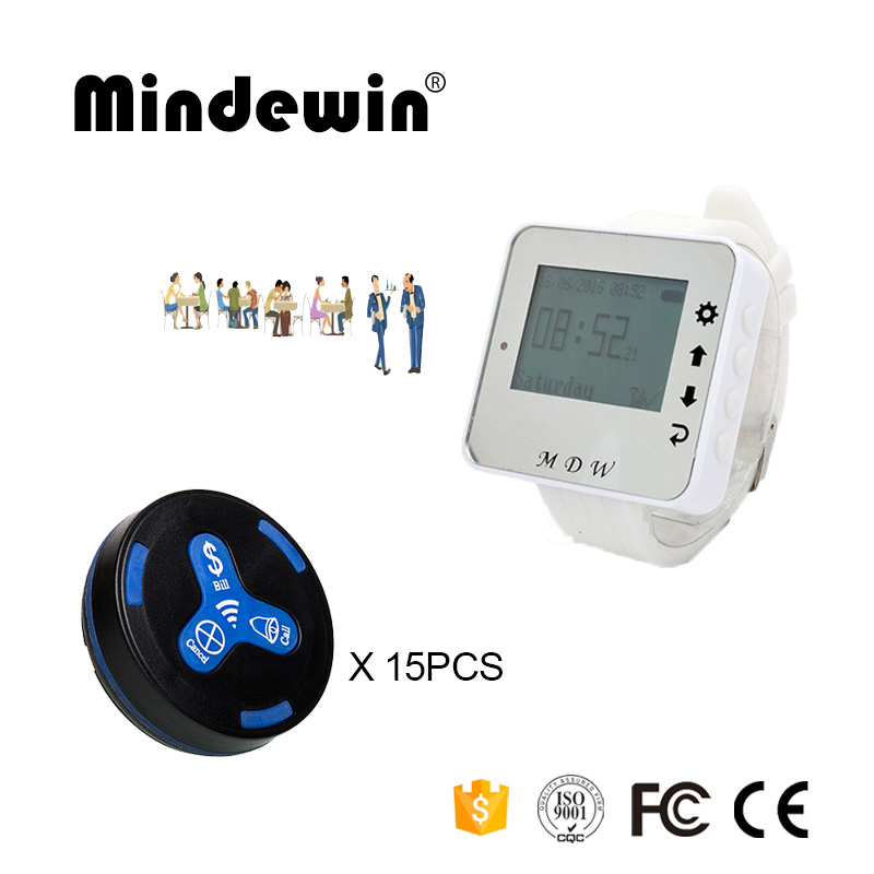 Mindewin 433MHz Restaurant Wireless Call Pager System 15PCS Table Call Button M-K-3 and 1PCS Watch Pager M-W-1 service call bell pager system 4pcs of wrist watch receiver and 20pcs table buzzer button with single key