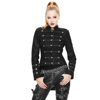 Punk Gothic Womens Cotton Short Jacket Rock Asymmetry Jacket Coat Steampunk Women Slim Fit Outwear Coat