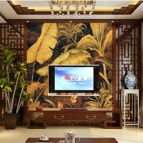 Custom Photo wallpaper Southeast Asia Thai style banana leaf wallpaper yoga  mural large mural wallpaper