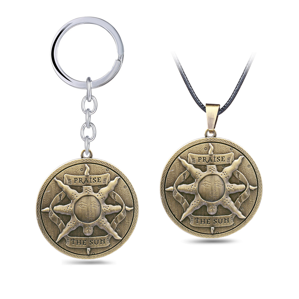 New Game Dark Souls 3 Key Chain Praise The Sun Emblem Collection Pendant Necklace Metal Leather Chain Choker Keychain Jewelry