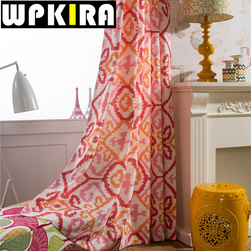 Polyester Cotton Cloth Red Geometric Curtain Panels Print Curtain Living  Room Window Curtain Semi Shade Tissus Pour Rideau 30