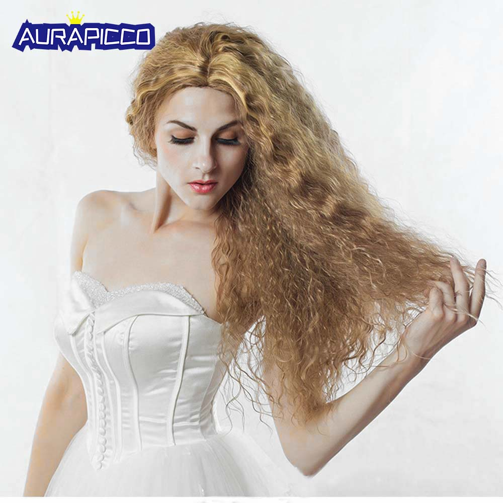 Perm Corn Wig 65 CM Synthetic Fairy Tale Princess Wigs Women Hair Wigs Heat Resistant Long Curly Wig Blonde Fluffy Hair Costume