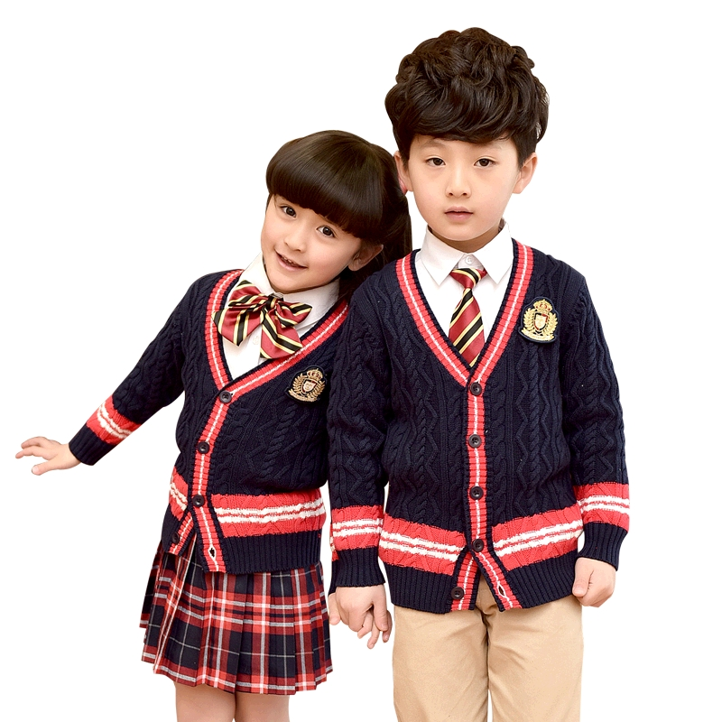 Students Clothes 2018 New Autumn Winter Clothes School Uniforms Suit Long-sleeved Cardigan Sweater Primary School Uniforms sahoo 45516 outdoor cycling sunproof polyester sleeves covers black white pair xxl