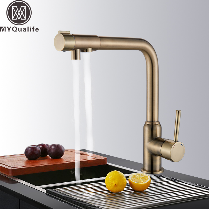 Kitchen Mixer Tap Kitchen Water Filter Faucet Antique Bronze Kitchen Purification Faucet Drinking Water Kitchen Hot and Cold Ta new 2018 fashion men dress shoes black cow leather pointed toe male oxfords business shoes lace up men formal shoes yj b0034