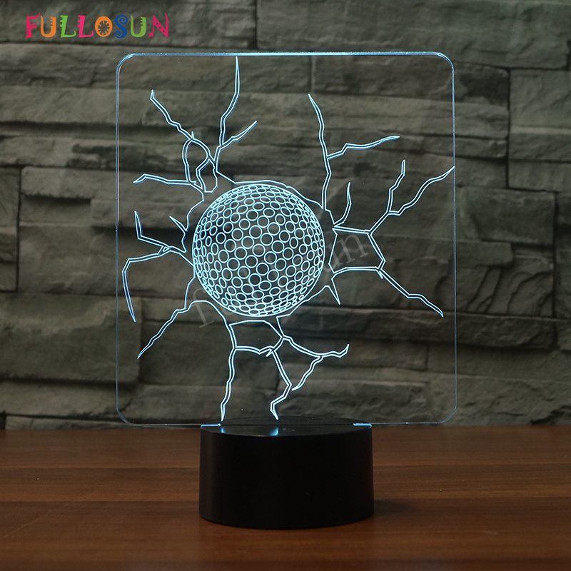 Golf Ball Bedroom Lights 3D Touch Desk Table Lamp LED USB Lights Decoration Lights as Holiday Gifts