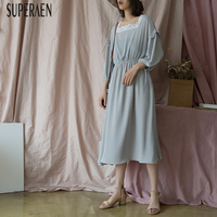SuperAen Korean Style Women Dress Harajuku Summer New 2019 Temperament Ladies Dress Square Collar Lace Stitching Women Clothing