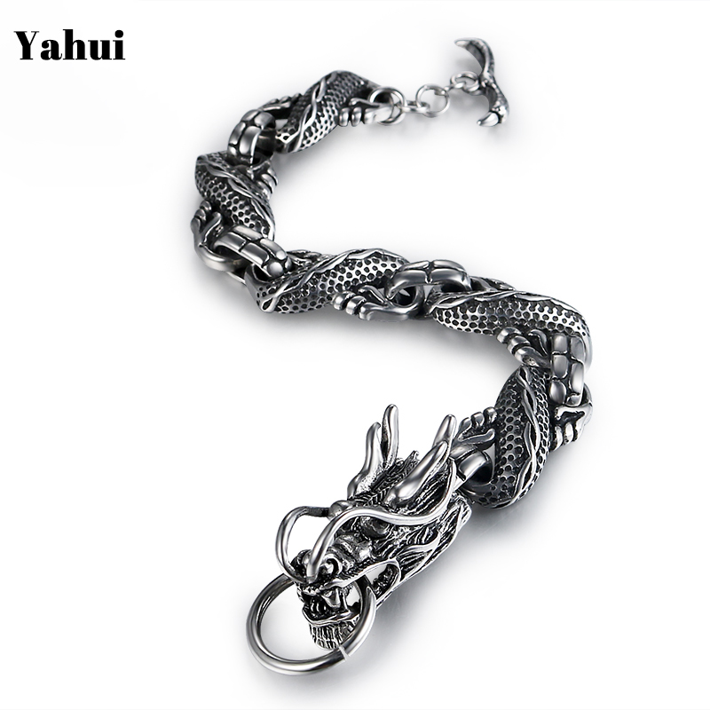 YaHui stainless steel Domineering Religious Totem Dragon Bracelet Retro Titanium steel bracelet men bracelet accessories jewelry in Chain Link Bracelets from Jewelry Accessories