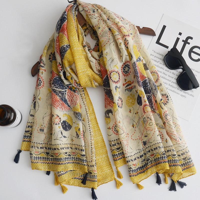 LANHUIFD Occident Style Yellow Sunflower Linen Scarf Korea Original Single Printing Totem Sunscreen Shawl Beach Dress Skirt