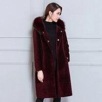 Chaud Manteaux D'hiver Femelle Solide Fourrure À Capuchon Long Manteau Femme bleu Femmes de Cachemire Manteau Plus La Taille 5XL Dames Laine Vestes N2A31A