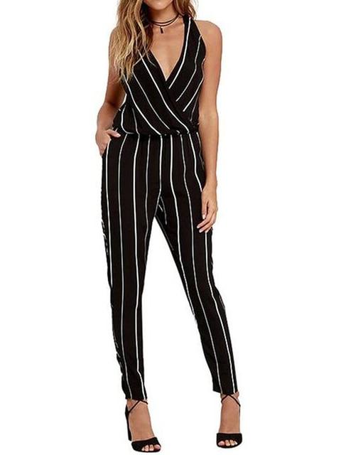 Vertical Print Black High Waist Black Jumpsuit Sleeveless V Neck Slim Office Romper 2016 Bodysuit Fashion Wear To Work