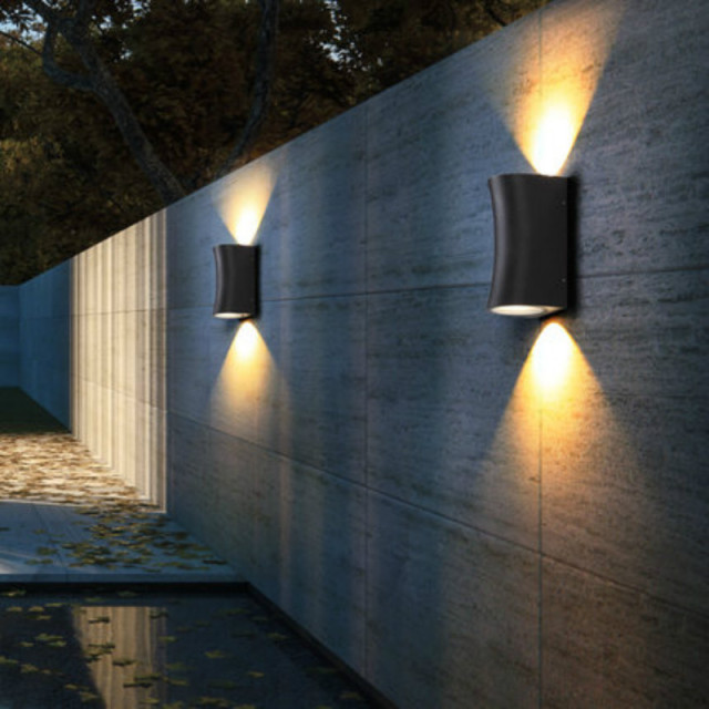 Up Down Light Wall Scone Led Outdoor Modern Design Porch Stair Way Lighting Aluminum Polish