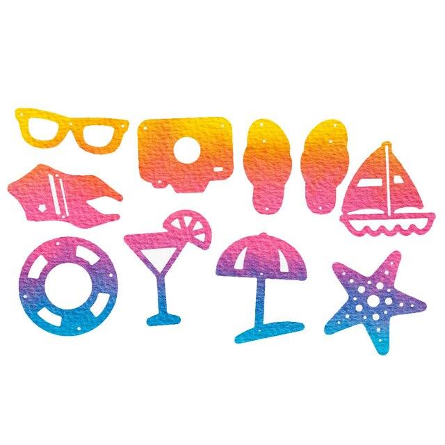 10pcs Summer Beach Holiday Series DIY Metal Cutting Die Stencil Scrapbooking Template Decorative Card for Album Decoration