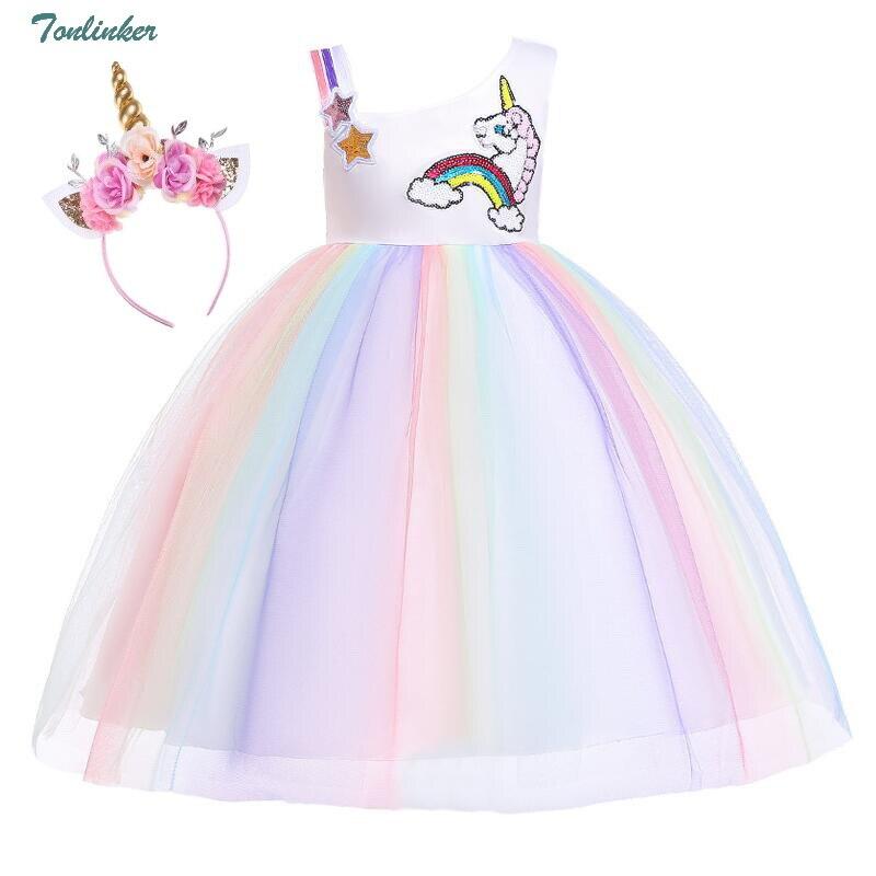 Kids Girls Unicorn Rainbow Princess Fancy Tutu Skirt Dress Summer Party Costume