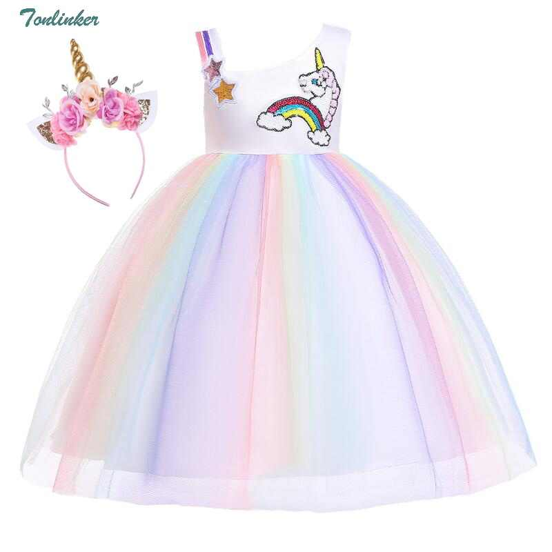 Girl Unicorn Party Dress+Sun Hat+Bag Costume Princess Party Prom Fancy 3pcs//set