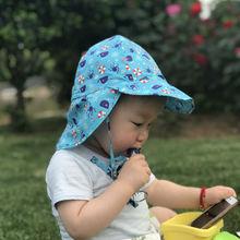 Summer Children Baby Sun Hat Outdoor Neck Ear Cover 50+ UV Protection Beach Caps Kids Boy Girl Flap Adjustable Drawstring Cap