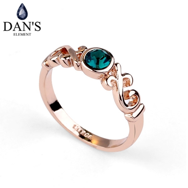 DAN'S ELEMENT New Sale Rose Gold Color Genuine Austrian Crystal Rings For Women