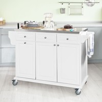 SoBuy FKW33 W Luxury Kitchen Trolley with Large Storage Cabinet Kitchen Island with Stainless Steel Worktop