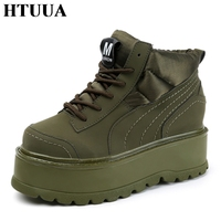 HTUUA 2017 Autumn New Women Creepers Platform Shoes Lace Up Fashion Flat Shoes Woman Female Student