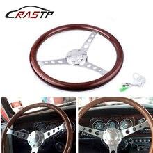 RASTP-15inch 380mm Steering Wheel Classic Sport Wooden Grain Silver Brushed Spoke Chrome RS-STW015-A